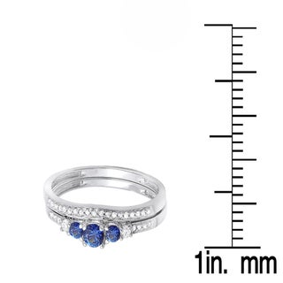 14k White Gold 1/2ct TW Blue Sapphire and Diamond 5-stone Bridal Set (H-I, I1-I2)
