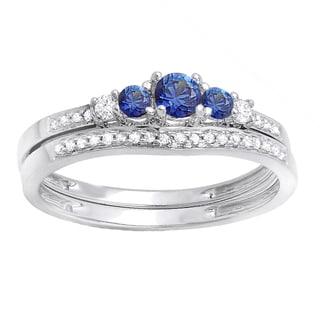 14k White Gold 1/2ct TW Blue Sapphire and Diamond 5-stone Bridal Set (H-I, I1-I2)