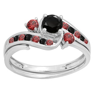 10k Gold 7/8ct TW Round Black Diamond and Red Ruby Swirl Bridal Ring Set
