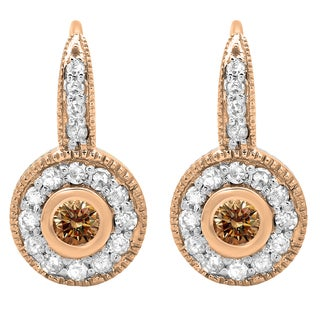 14k Rose Gold 3/8ct TDW Round-cut Champagne and White Diamond Cluster Halo Earrings