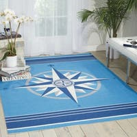 Waverly Sun N' Shade Blue Indoor/ Outdoor Area Rug by Nourison - 5'3 x 7'5