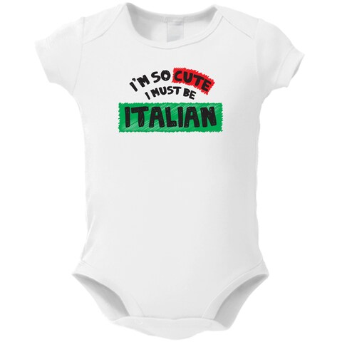 White Cotton 'I'm So Cute I Must Be Italian' Baby Bodysuit