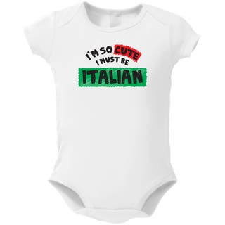 White Cotton 'I'm So Cute I Must Be Italian' Baby Bodysuit|https://ak1.ostkcdn.com/images/products/13766916/P20420917.jpg?impolicy=medium