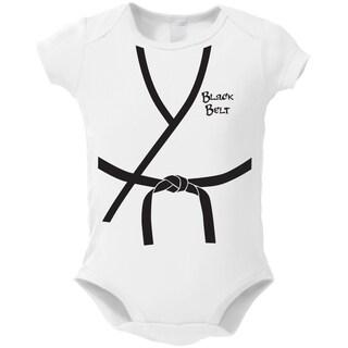 White Cotton 'Black Belt Baby' Bodysuit