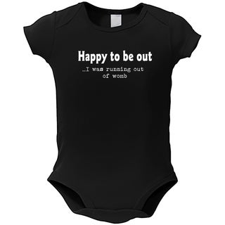 Baby 'Running Out of Womb' Black Cotton Bodysuit One-piece
