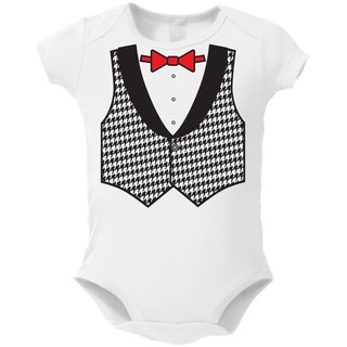 Houndstooth Vest White Baby Bodysuit One-piece