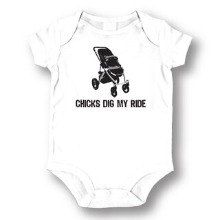 'Chicks Dig My Ride' White Baby Bodysuit