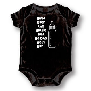 Hand Over the Bottle' Infants' Black Cotton Bodysuit One-piece