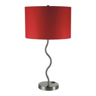 Furniture of America Cammi Modern Metal Silver Wavy Table Lamp (Set of 2)