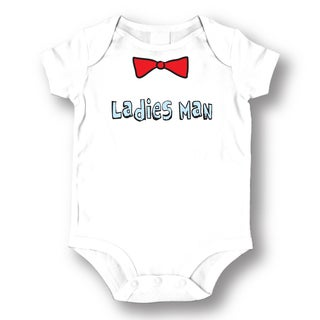 White Cotton 'Ladies Man' Baby Bodysuit One-piece