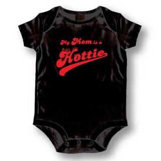 My Mom is a Hottie' Black Baby Bodysuit One-piece