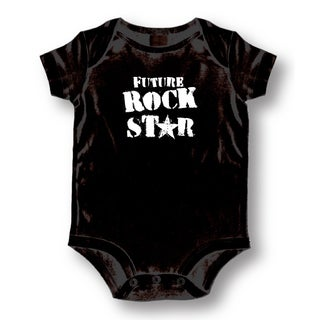 Future Rock Star Black Cotton Baby Bodysuit One-piece