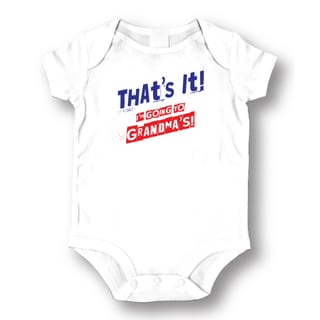 White Cotton 'Going To Grandmas' Baby Bodysuit One-piece