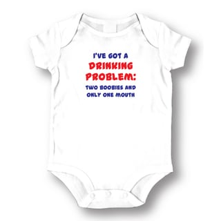 White Cotton 'I've Got A Drinking Problem Two Boobies and One Mouth' Baby Bodysuit One-piece
