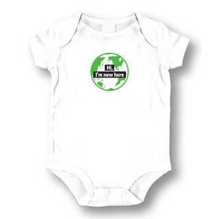 White Cotton 'New Here' Baby Bodysuit