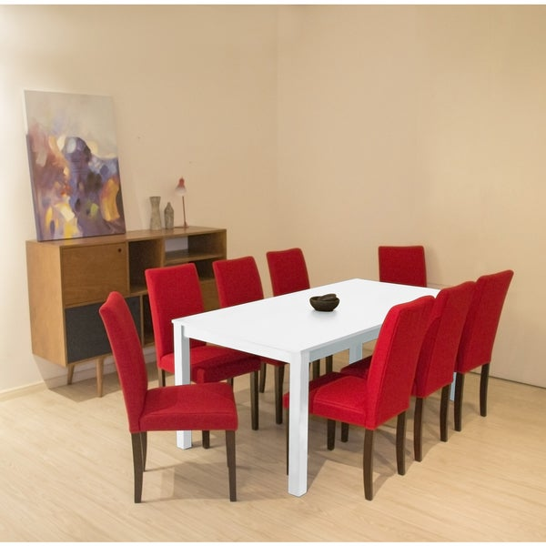 Shino Crimson Linen And White Wood 9 Piece Dining Set