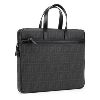 Fendi Zucca Black Gray Logo Briefcase