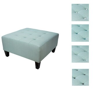 MJL Furniture MAX Button Tufted Upholstered Square Blue Ottoman