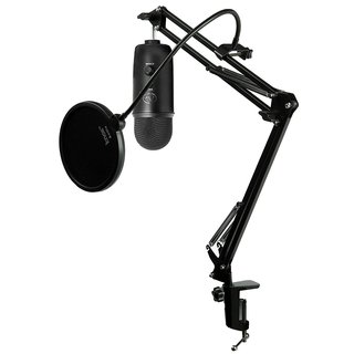 Blue Microphones Blackout Yeti Mic w/ Knox Mic Desktop Boom Arm and Pop Filter (Black)