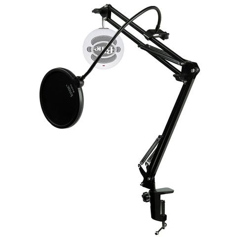 Blue Microphones Snowball ICE Mic w Knox Mic Desktop Boom Arm and Pop Filter (White)