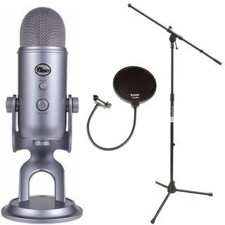 Blue Microphones Yeti USB Microphone with Mic Stand and Pop Filter for Broadcasting & Recording Microphones (Grey)