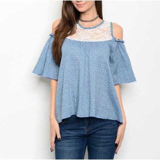JED Women's Lace Inset Off-shoulder Blue Cotton Top