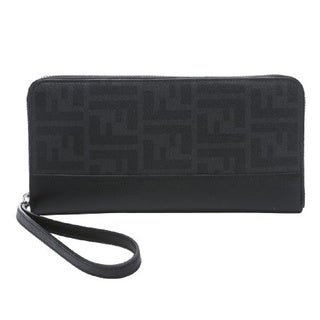 Fendi Zucca Black Logo Travel Wallet