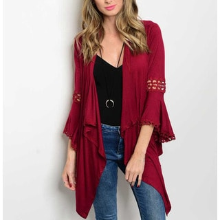 JED Women's Bell Sleeve Lace Trim Burgundy Jersey Cardigan