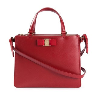 Salvatore Ferragamo Tracy Red Saffiano Leather Handbag