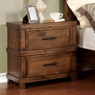 Furniture of America Stamson Rustic Antique Oak Wood 2-drawer Nightstand