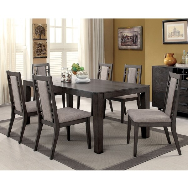 Furniture of America Mosa Rustic Grey Solid Wood 7-piece Dining Set