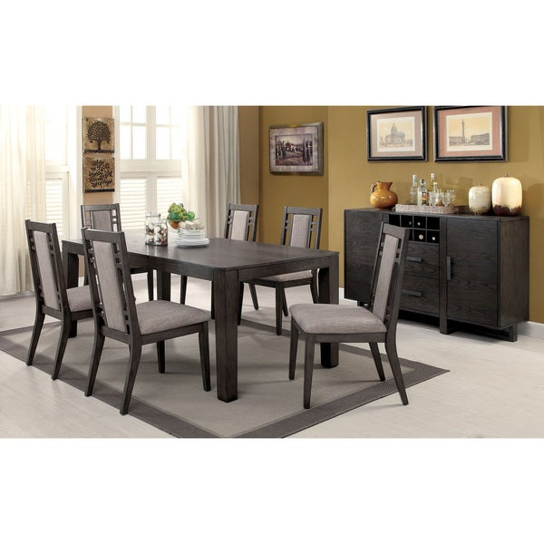 Superieur Furniture Of America Basson Rustic 7 Piece Grey Dining Set