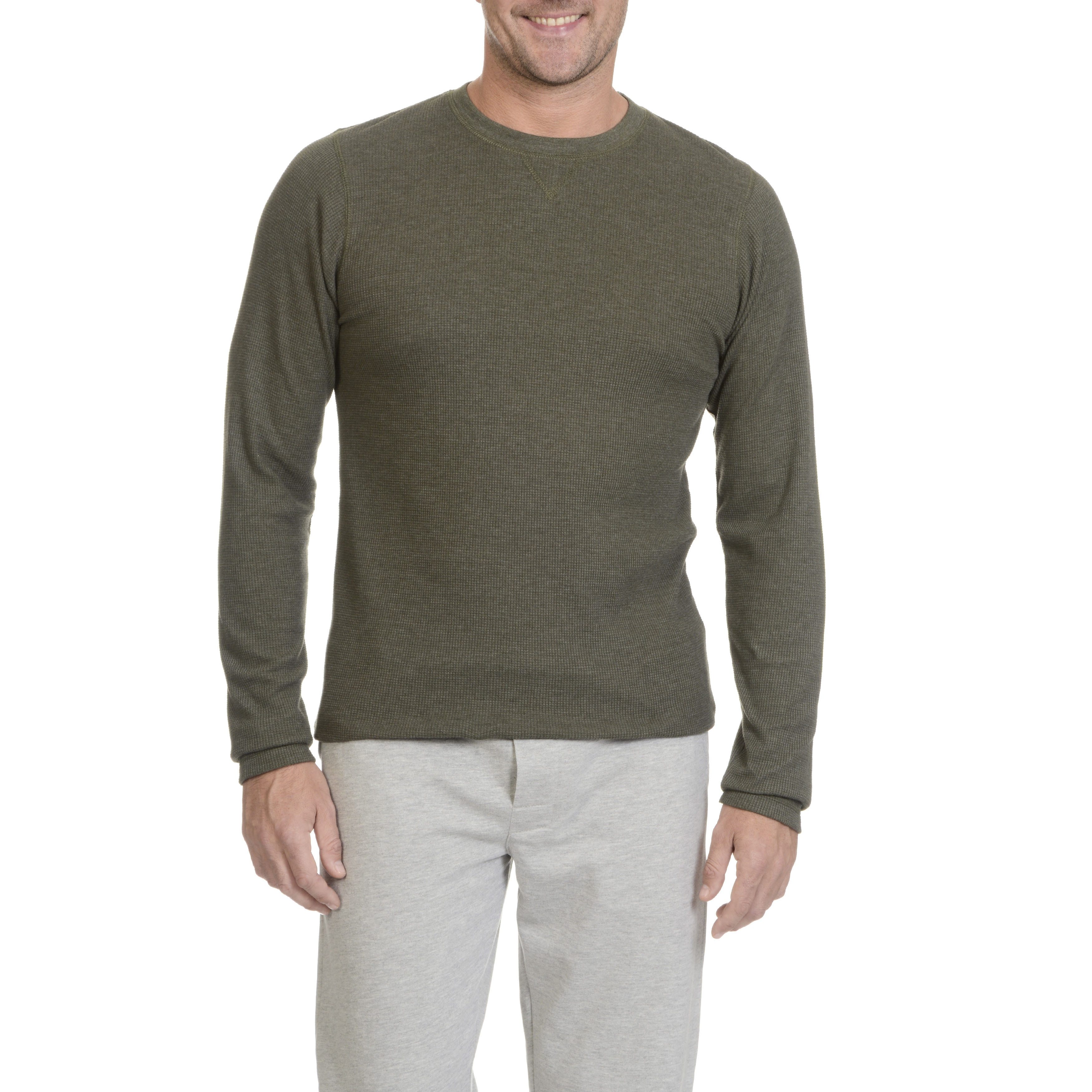 NEW CLUB ROOM WAFFLE WASHED CREW NECK LONG SLEEVE THERMAL SHIRT