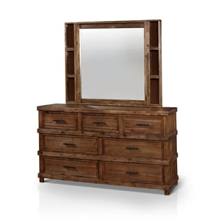 Furniture of America Stamson Rustic 2-piece Antique Oak Dresser and Mirror Set