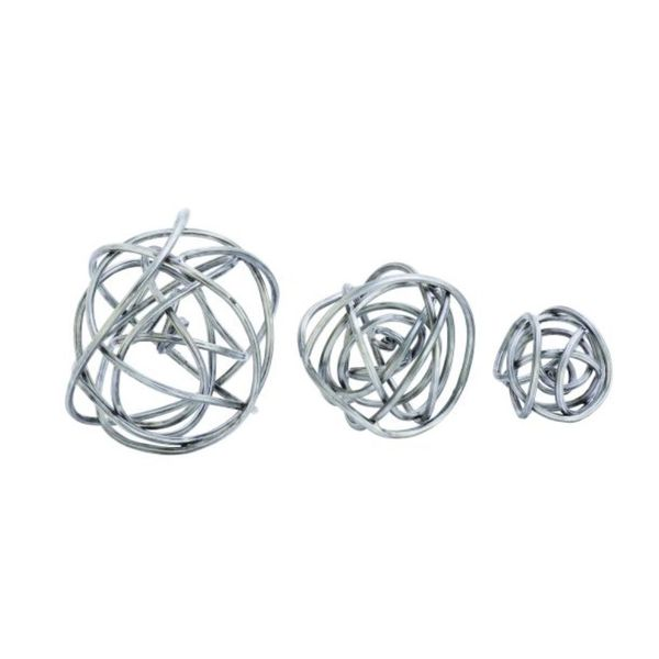 Benzara Silvertone Metal Decorative Orb (Pack of 3)