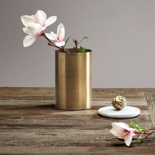 Madison Park Kayden Brass Canister with Large Marble Top