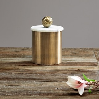 Madison Park Kayden Brass Cannister With Marble Top Medium