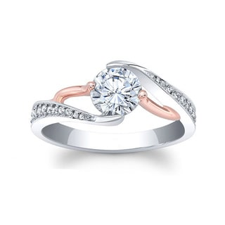 Barkev's Designer 14k Rose and White Gold 3/4ct TDW Round Diamond Engagement Ring (F-G, SI1-SI2)