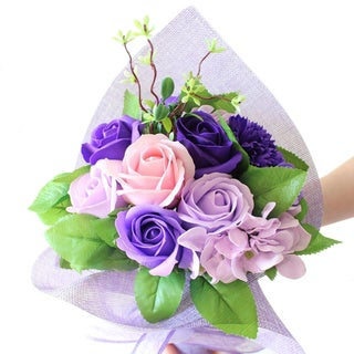 Ikee Design Scented Artificial Small Floral Purple Mesh Bouquet Wrap