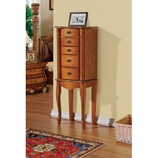 Shop Francisco Oak Jewelry Armoire Cabinet Organizer ...