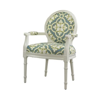 Powell White and Teal Wood/Foam/Polyester Accent Chair