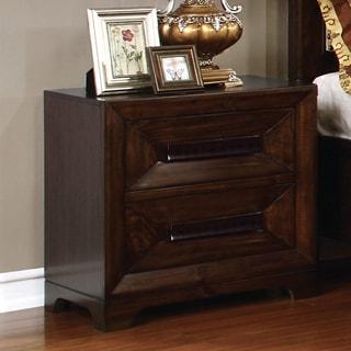 Furniture of America Bradey Simple Walnut 2-drawer Nightstand