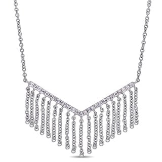 Link to Miadora 14k White Gold 1/5ct TDW Diamond Geometric Tassel Necklace Similar Items in Necklaces