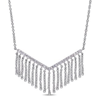 Miadora 14k White Gold 1/5ct TDW Diamond Geometric Tassel Necklace
