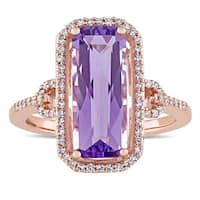 Miadora Signature Collection 14k Rose Gold Emerald-Cut Amethyst and 1/4ct TDW Diamond Halo Cocktail