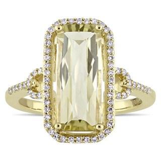 Miadora Signature Collection 14k Yellow Gold Emerald-Cut Lemon Quartz and 1/4ct TDW Diamond Halo Cocktail Ring (G-H, SI1-SI2)