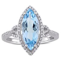 Miadora Signature Collection 14k White Gold Marquise-Cut Blue Topaz and 1/4ct TDW Diamond Halo Cockt