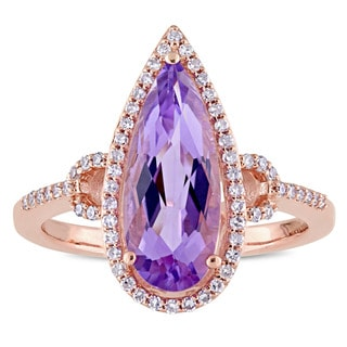 Miadora Signature Collection 14k Rose Gold Pear-Cut Amethyst and 1/4ct TDW Diamond Halo Cocktail Rin