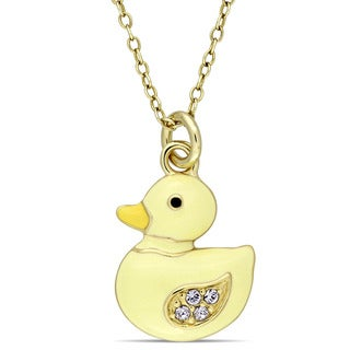 Miadora Yellow Plated Sterling Silver Children's Yellow Enamel and White Topaz Baby Duck Pendant with Chain
