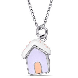 Miadora Sterling Silver Children's Enamel House Pendant with Chain - Blue